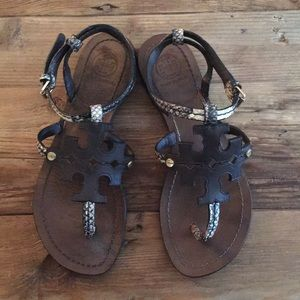 Tory Burch Chandler Leather Snake Sandals